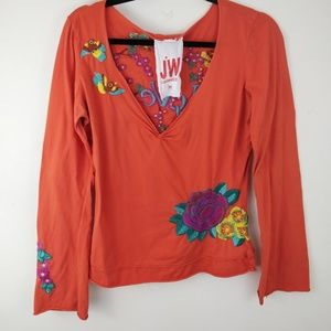 Johnny Was JWLA Embroidered Love Orange Shirt